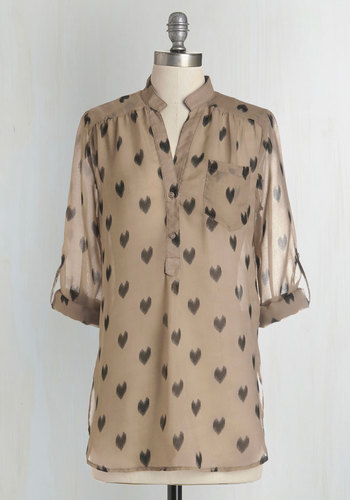 Love Ballad Tunic in Sheer Tan - Black, Casual, Urban, 3/4 Sleeve, Tan, Best Seller, Sheer, Valentine's, Brown, Tab Sleeve, Long, Maternity, Novelty Print, Fall, Good, 4th of July Sale, Print, Work, Top Rated