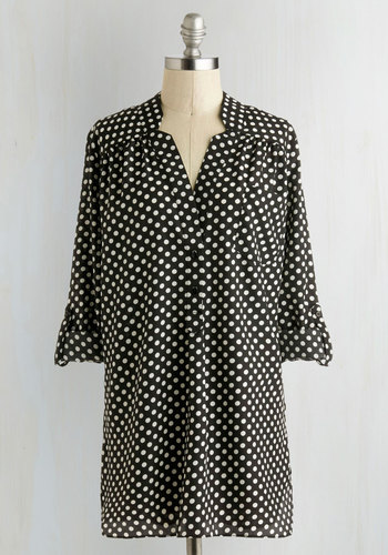Dot Calm Top - Long, Black, White, Polka Dots, Buttons, Pockets, Casual, Long Sleeve, Exclusives, Black, Tab Sleeve