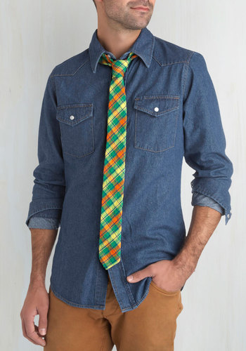 Before and Dapper Tie in Mirepoix - Cotton, Green, Orange, Yellow, Plaid, Guys