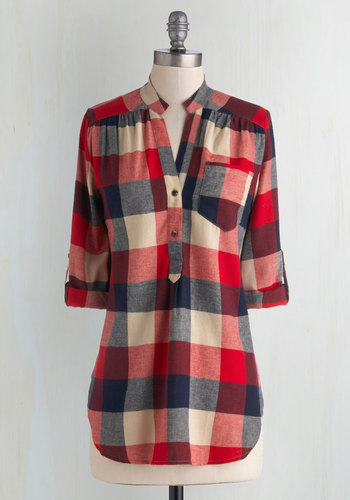 Bonfire Stories Tunic in Red Plaid - Blue, Tan / Cream, Plaid, Buttons, Pockets, Casual, Cotton, Woven, Red, Rustic, 3/4 Sleeve, Long, Red, Tab Sleeve
