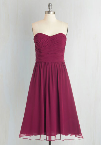 Luminous and Lovely Dress in Raspberry - Prom, Wedding, Bridesmaid, Pink, Solid, Special Occasion, Fit & Flare, Sleeveless, Woven, Best, Exclusives, Variation, Sweetheart, Mid-length, Ruching, Party, Homecoming, Purple, Full-Size Run, Valentine's