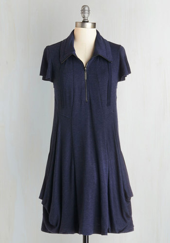 Fresh Flow Dress in Navy - Short, Knit, Blue, Solid, Pockets, Casual, Tent / Trapeze, Cap Sleeves, Better, Collared, Exposed zipper