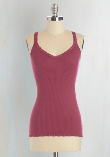Founded in Fashion Top in Berry - Mid-length, Cotton, Knit, Red, Sleeveless, Summer