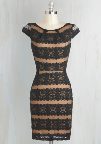 Lace Fall in Love Dress - Black, Cap Sleeves, Sheer, Mid-length, Tan, Film Noir, Shift, Lace, Party, Cocktail, Girls Night Out