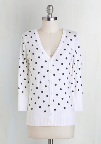 Charter School Cardigan in Dots - White, Black, Polka Dots, Buttons, Casual, Variation, V Neck, Work, Rockabilly, Vintage Inspired, Scholastic/Collegiate, Pinup, Mid-length, Basic, Exclusives, 3/4 Sleeve, White, 3/4 Sleeve, Spring, 60s, Beach/Resort, Best Seller, Gals, Knit, Good, 4th of July Sale, Daytime Party, Top Rated, Gifts2015, Colorsplash