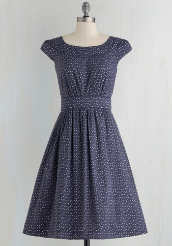 Day After Day Dress in Blue Dots by Emily and Fin - Blue, White, Polka Dots, Pockets, Casual, A-line, Cap Sleeves, Scoop, Spring, Variation, Cotton, Pink, 50s, Maternity, Long