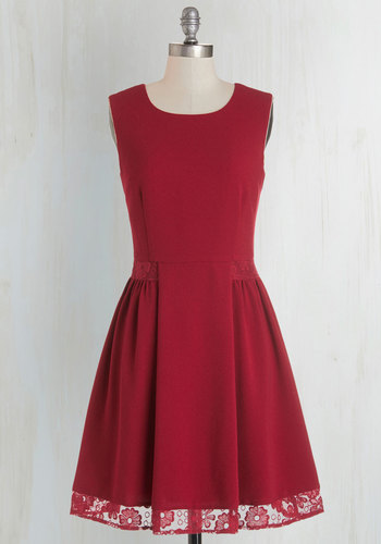 Maraschino Cheery Dress in Bing Cherry by Myrtlewood - Woven, Red, Solid, Lace, Party, A-line, Sleeveless, Better, Exclusives, Variation, Private Label, Cocktail, Full-Size Run, Mid-length