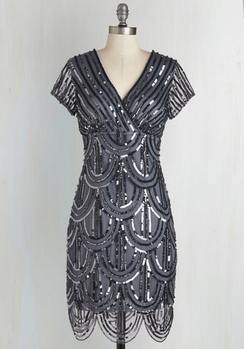 Cascading Cava Dress in Silver $174.99 AT vintagedancer.com