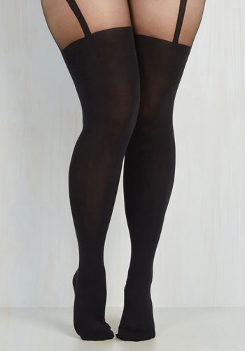 Suspends Thriller Tights - Extended Size by Pretty Polly - International Designer, Black, Solid, Party, Girls Night Out, Pinup, Vintage Inspired, 40s, 50s, Sheer, Knit, Valentine's