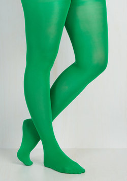 Rudimentary My Dear Tights in Green - Plus Size