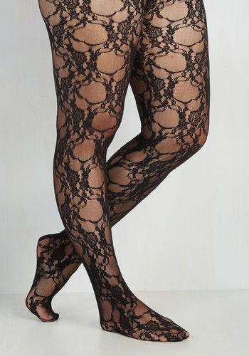 Fleur de Lace Tights in Plus Size - Sheer, Knit, Black, Lace, Party