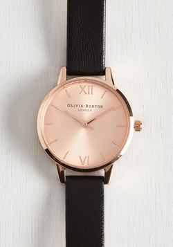 Undisputed Class Watch in Black & Rose Gold - Midi