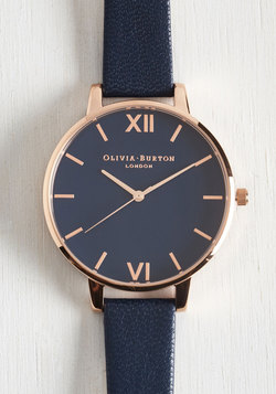 Classic Company Watch in Navy & Rose Gold - Big