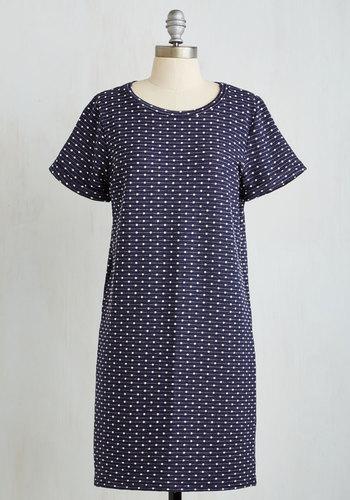Born for the Beach Dress - Blue, White, Polka Dots, Print, Casual, Shift, Short Sleeves, Fall, Knit, Good, Mid-length