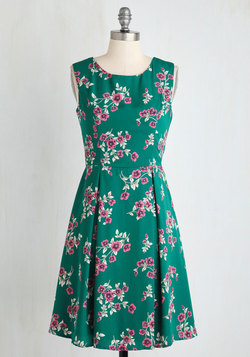I Rest My Grace Dress in Emerald Blooms