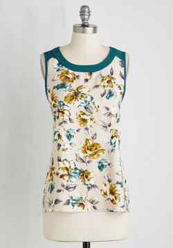 Botanical It a Day Top in Teal