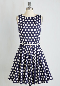 Luck Be a Lady Dress in Navy Dots