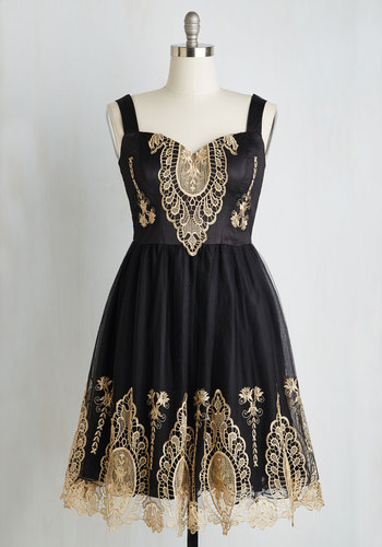 In the Chandelier Light Dress - Black, Gold, Crochet, Party, Sleeveless, Sweetheart, Knit, Mid-length, Prom, Special Occasion, Cocktail, Full-Size Run, Homecoming, Fit & Flare