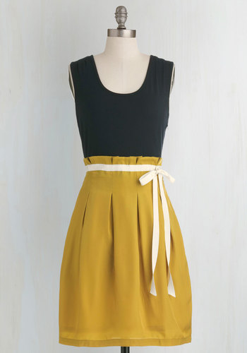Scenic Road Trip Dress in Navy and Gold by Pink Martini - Casual, Yellow, Tan / Cream, Black, Pleats, Urban, Twofer, Sleeveless, Belted, Scoop, Summer, Travel, Mid-length