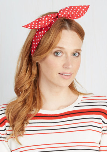 Through the Wire Headband in Red - Red, White, Polka Dots, Casual, Rockabilly, Vintage Inspired, 50s, Nautical, Best Seller, Beach/Resort, Travel, Summer, Pinup, Americana, Gals, Under $20