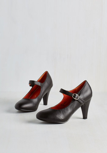 Member of the Board Heel in Black - Black, Solid, Work, Daytime Party, Graduation, Mid, Good, Minimal, Faux Leather, Mary Jane, Variation, Basic
