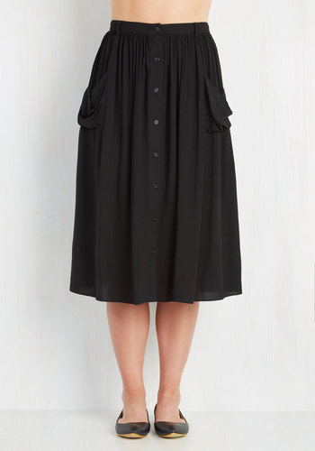 Just Dandy Skirt in Black - Black, Solid, Buttons, Pockets, Casual, Variation, Basic, Urban, 20s, Midi, Black, Long
