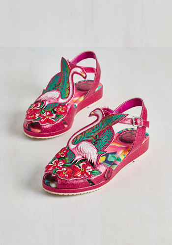 Flock and Stroll Sandal by Miss L Fire - Pink, White, Print with Animals, Patch, Bird, Best, Slingback, Low, Faux Leather