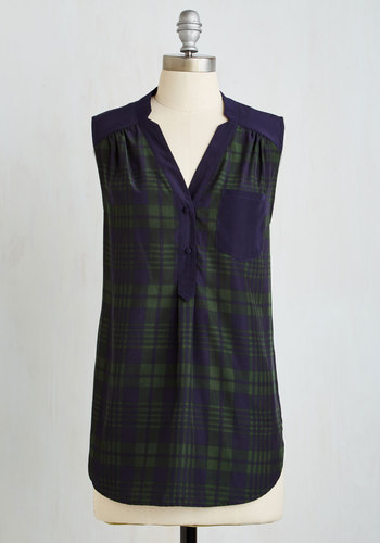 Girl About Scranton Tunic in Green Plaid