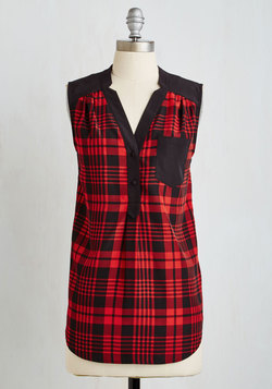 Girl About Scranton Tunic in Red Plaid