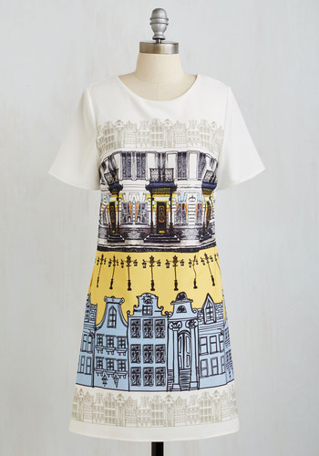 Breezy Street Dress - Multi, Novelty Print, Casual, Shift, Short Sleeves, Woven, Good, Short