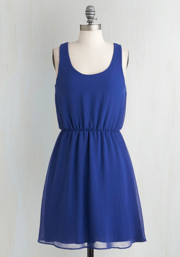 You Azure Are Cute Dress - Blue, Solid, Casual, A-line, Tank top (2 thick straps), Tis the Season Sale, Variation, Mid-length