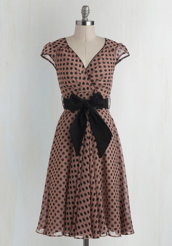 Have the Dance Floor Dress in Mauve Dots - Pink, Black, Polka Dots, Belted, Party, Vintage Inspired, Cap Sleeves, V Neck, 50s, Full-Size Run, Long, Valentine's, Fit & Flare