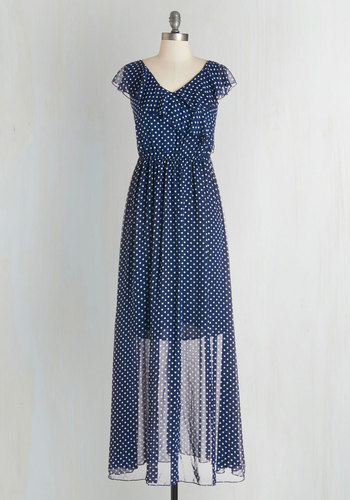 Joyful Jamboree Dress by Kling - Long, Chiffon, Woven, Blue, White, Polka Dots, Ruffles, Casual, Maxi, Cap Sleeves, Better, V Neck