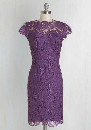 Wine and Divine Dress in Grape - Purple, Solid, Special Occasion, Cap Sleeves, Woven, Lace, Better, Boat, Wedding, Cocktail, Bridesmaid, Sheath, Valentine's, Cutout