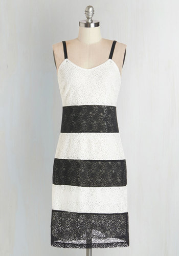 Superb Statement Dress - Black, Stripes, Lace, Daytime Party, Shift, Summer, Woven, Better, Scoop, Mid-length, Lace, Sleeveless, White