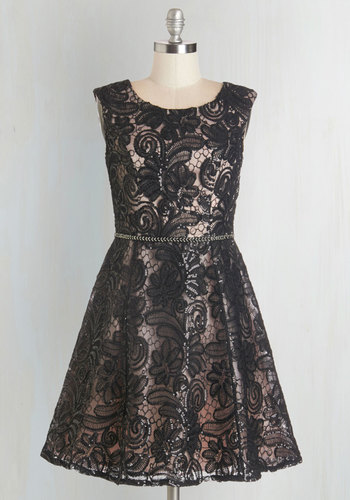 Savannah Nights Dress - Lace, Sequins, Special Occasion, Party, A-line, Woven, Better, Scoop, Mixed Media, Lace, Black, Pink, Beads, Sleeveless, Mid-length, Homecoming, Prom, Holiday Party