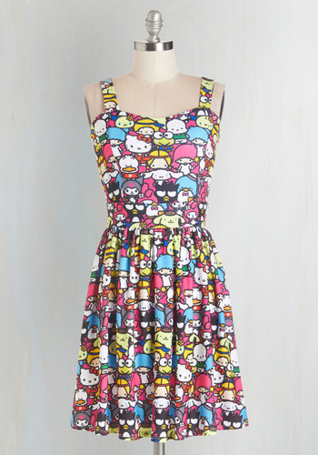 Trip to Kawaii Dress - Multi, Novelty Print, Casual, A-line, Sleeveless, Knit, Better, Sweetheart, Kawaii, Quirky, Critters, Statement, Mid-length
