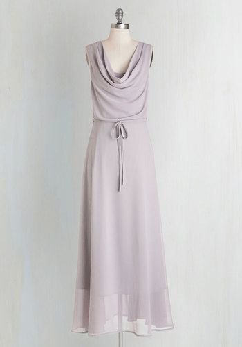 Freely Flowing Dress - Grey, Solid, Belted, Special Occasion, Wedding, Bridesmaid, A-line, Sleeveless, Woven, Better, Cowl, Long, Press Placement, Prom, Homecoming