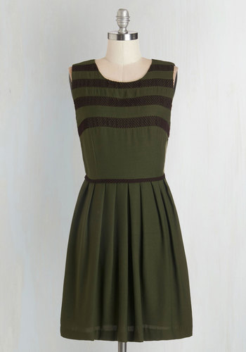 Party Among the Pines Dress - Green, Black, Stripes, Pleats, Casual, A-line, Sleeveless, Fall, Woven, Better, Scoop, Mid-length, Work