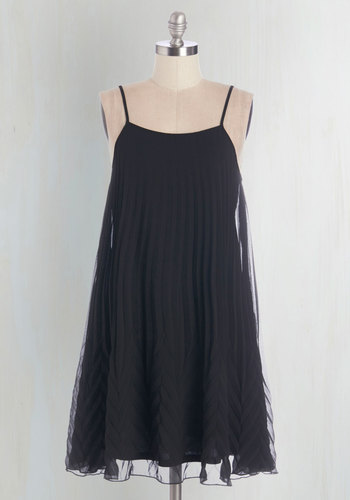 Pleat and Repeat Dress - Black, Solid, Pleats, Party, A-line, Woven, Good, Spaghetti Straps, Tent / Trapeze