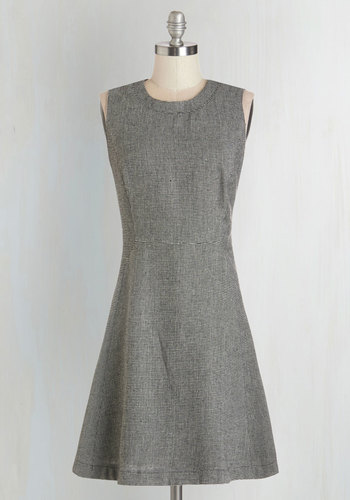 Campaign Trip Dress - Grey, White, Work, A-line, Sleeveless, Fall, Woven, Better, Mid-length, Checkered / Gingham