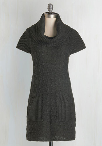 Knit Beyond Measure Dress in Charcoal - Grey, Solid, Pockets, Casual, Cap Sleeves, Winter, Knit, Better, Cowl, Short, Knitted, Fall, Sweater Dress