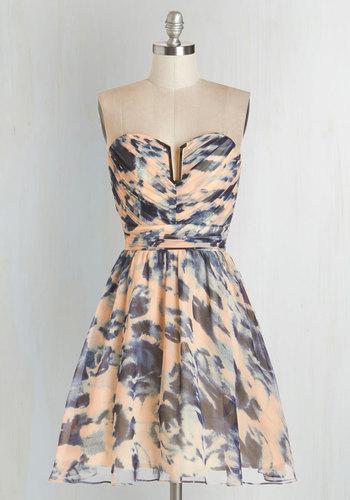 Swirls of Sass Dress - Short, Chiffon, Woven, Print, Special Occasion, Prom, Homecoming, Fit & Flare, Strapless, Better, Sweetheart, Orange, Blue, Pastel