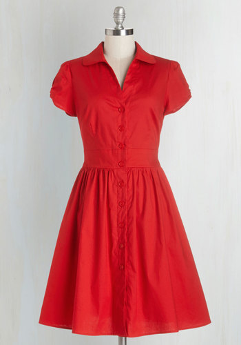Summer School Cool Dress - Red, Solid, Buttons, Casual, A-line, Shirt Dress, Short Sleeves, Good, Collared, Woven, Pockets, Mid-length