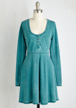 On a Grinning Streak Dress in Teal