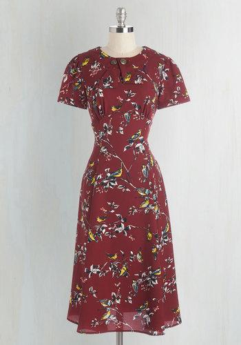 Believe It or Dot Dress in Songbirds $69.99 AT vintagedancer.com