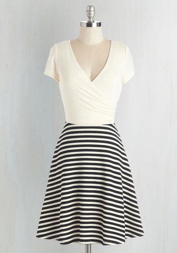 Botanical Breakfast Dress in Black Stripes