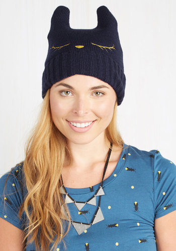 Cat Nap Hat in Navy - Blue, Print with Animals, Embroidery, Fall, Winter, Cats, Knit, Critters