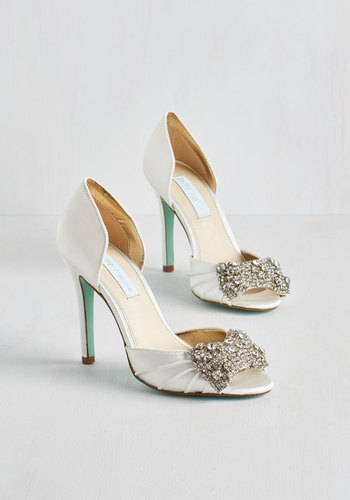 Dancing Gleam Heel in White by Betsey Johnson - High, Leather, Satin, White, Bows, Rhinestones, Wedding, Bride, Fairytale, Best, Peep Toe, Solid, Special Occasion, Prom, Party, Cocktail, Holiday Party, Variation