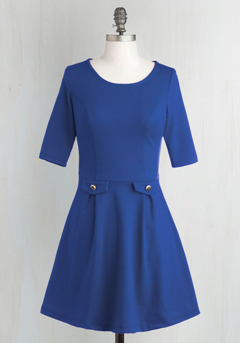 You Guest It Dress in Blue - Blue, Solid, Work, A-line, 3/4 Sleeve, Fall, Short